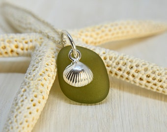 Sea Glass Necklace, Olive Green Pendant, Sterling Silver Chain, Anniversary Gift For Wife