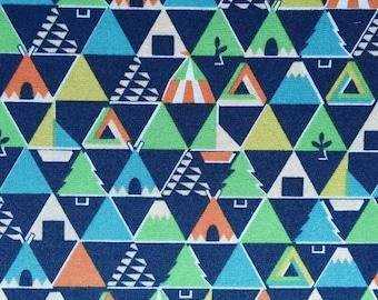 Japanese Sevenberry fabric - Cotton - blue Triangles - 50cm (110 x)