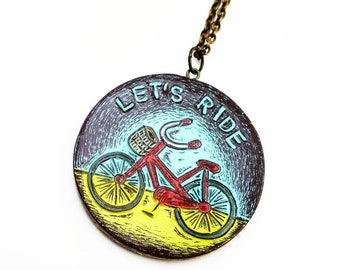 Red Bike Necklace, Bicycle Necklace, Let's Ride Pendant, Bicycle Jewelry, Graduation Gift, Bike Jewelry, Daughter Gift, Biker Gift