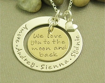 Personalized Hand Stamped Necklace, Sterling Silver, Personalized Jewelry