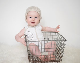 6 - 12 months Ribbed Knit Bonnet - Linen - Ribbed Knit Bonnet - Photography Prop