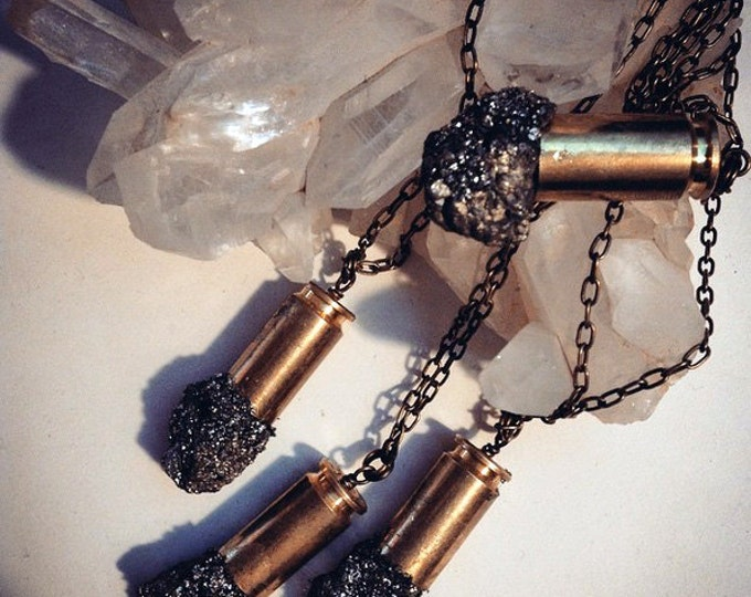 Raw Pyrite Bullet Crystal Necklace