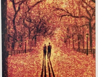 Postcard featuring a famous 'New Yorker' cover - Autumn Leaves. BIG discount for multiple purchases!!