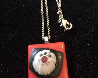 Red and Black Glass Pendant