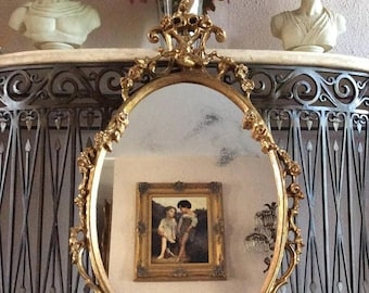Sale Antique Rococo Style Ornate Gold Oval Hanging Wall Mirror Home Decor