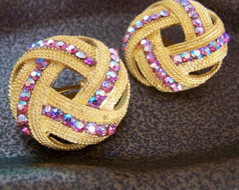 "Vintage 70's ""AURORA BOREALIS BUTTON"" Clip On Earrings in Love Knot Style"