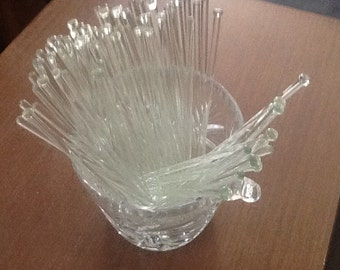 Vintage glass swizzle sticks for alcohol drinks
