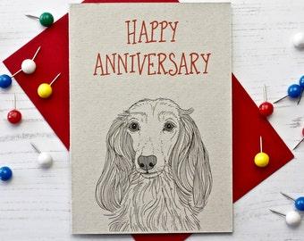 Long Haired Dachshund Anniversary Card