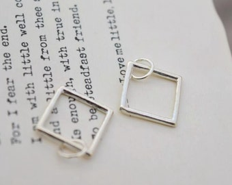 2 pcs 925 sterling silver geometry charm pendant square charm charm , NR1