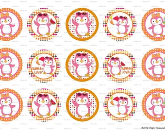 "15 Summer Lovin' Penguin Digital Download for 1"" Bottle Caps (4x6)"