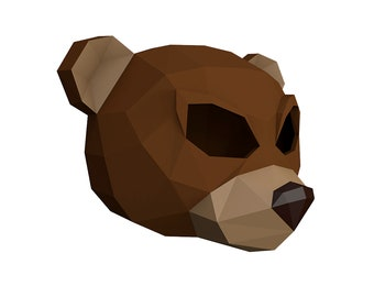 Make Your Own Angry Teddy Bear Mask. | Bear mask | Wild animal | papercraft | Halloween mask | animal mask | Paper Animal