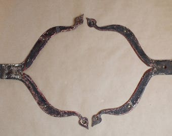 1800's Pair of Antique Iron Strap Hinges - Heart Detail - Hand Forged - Wall Art - Architectural - Farmhouse - Hardware
