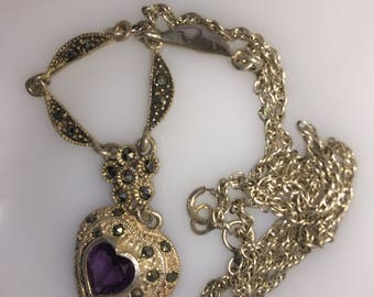 Amethyst Sterling Silver Marcasite Heart Necklace