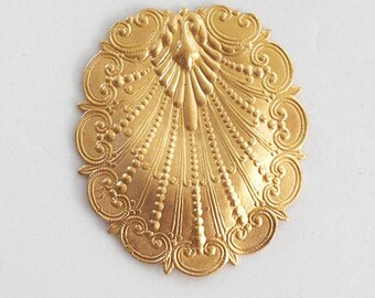 1 raw brass stylized art nouveau shell ornament, pendant, brass stamping, 47 x 41mm, made in the USA C8601