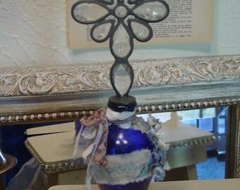 Cobalt Bottle - Altered Art Vintage Bottle - Assemblage - Vanity Home Decor - Mixed Media - TVAT