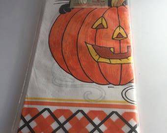 Vintage Halloween Party Designware Paper Tablecloth New In Package Jack O Lantern Orange & Black Plaid