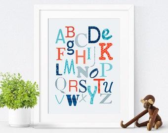 Printable Nursery Art, Printable Alphabet Poster, Baby Boy Nursery Decor, Navy Blue Nursery