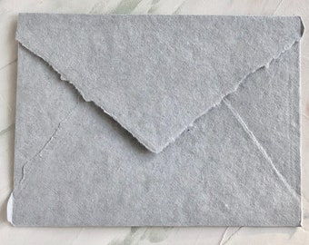 """Gray Color 5.5x7.5 inches  (5.5"""" x 7.5"""") Handmade Cotton Paper Deckle Edge Rag Ungummed Invitation Envelope  150gsm 