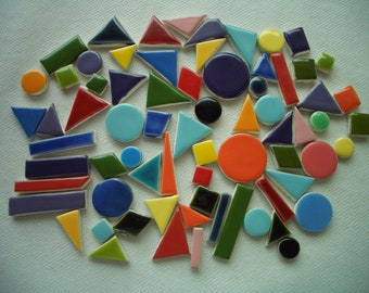 71E - CHICKLETS - 71 pcs - Fun, COLORFUL Tiny Tiles - Ceramic Mosaic Tiles