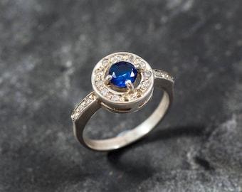 Blue Sapphire Ring, Created Sapphire, CZ Diamonds, Royal Blue Ring, Bridal Ring, Something Blue, Something Blue Ring, Solid Silver Ring