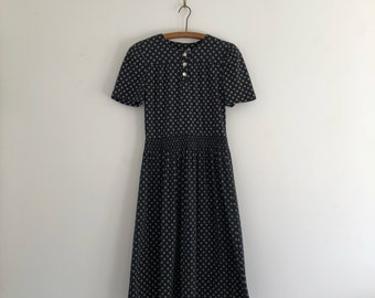 Vintage 80's Black and White Cotton Day Dress S