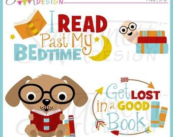 Reading Clipart, Books clipart, reading, teacher clipart, reading clip art, school clipart, instant download