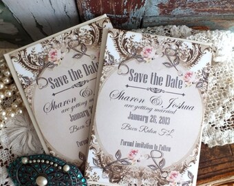 Romantic Elegant Vintage Save the Date Cards Handmade by avintageobsession on etsy