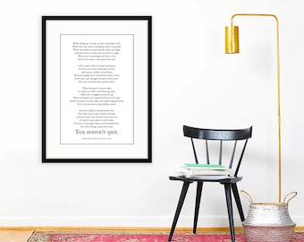 Don't Quit Poem Framed Print, inspirational gift, keep going