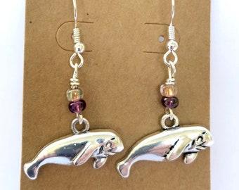Silver Manatee Earrings