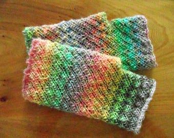 Mitaines courtes n ° 6, belle prime de 100 % laine, oh tellement coloré