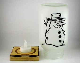 Snowman Light, Hand Painted Mason Jar with LED Tea Light and Handmade Wooden Stand