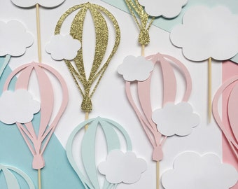 Hot Air Balloon Cupcake Topper   Cloud Dessert Picks   Up Up and Away Party Decorations   Oh The Places You'll Go Theme Baby Shower