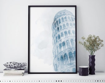 Leaning Tower of Pisa, Italy Watercolour Print Wall Art   4x6 5x7 A4 A3 A2