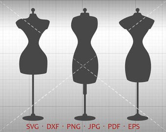 Sewing Dress Form SVG, Dress Form Clipart DXF Vector Silhouette Cricut Cut File Commercial Use