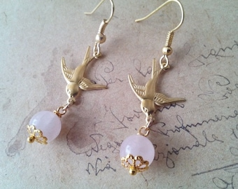 Swallow earrings with Rose Quartz beads ~ gold ~.