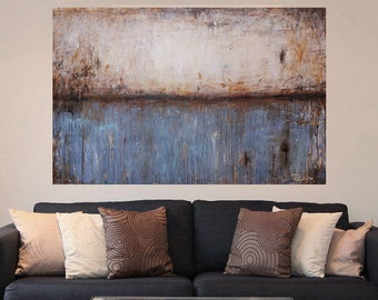large painting,62x40,abstract painting,modern abstract art Canvas Wall art,Acrylic painting,gray blue,rust