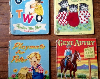 1950's Tell-A-Tale Children's Books, One Two Buckle My Shoe, Fuzzy Mittens, Playmates for Peter, Gene Autry. Western Publishing