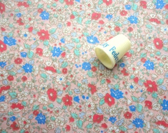 red and blue flowers on pink vintage cotton blend fabric -- 36 wide by 1 7/8 yard