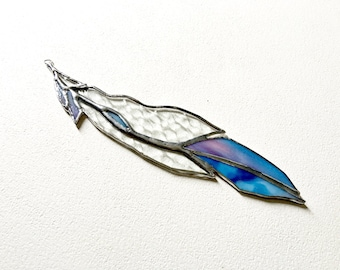 Glass Feather Blue Clear Glass Stained Glass Feather Gift For Girlfriend Stained Glass Suncatcher Made To Order