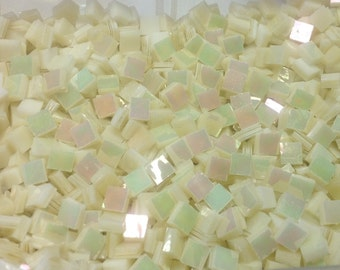 """100 1/4"""" Tiny Tiles IRIDIZED GOLDEN PEARL Stained Glass Mosaic  Z1"""