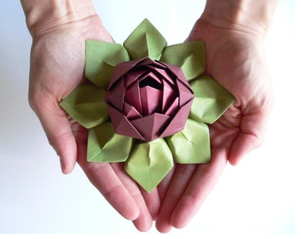 Handmade Paper Flower - Origami Lotus Flower Decoration or Favor - Merlot, Rhubarb, and Moss Green