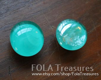 """1.25"""" New turquoise teal seafoam green blue glass drawer cabinet door knob Pull Handle"""
