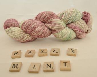 "Hand-dyed yarn, ""Razzy Mint"" variegated, soft and squishy yarn. Great for socks or shawls. 80/20 Superwash wool/Nylon"