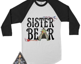 SISTER BEAR Kids Raglan Tee / Big Sister Baby Bear / Pregnancy announcement shirt / Custom Name shirt/ Custom shirt / Woodland/Rustic shirt