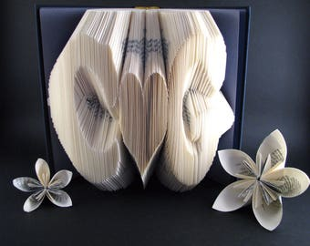 Custom folded book - Initials - Heart shape - Book sculpture - Altered book - Anniversary gift - Valentine's gift - Couple wedding best gift