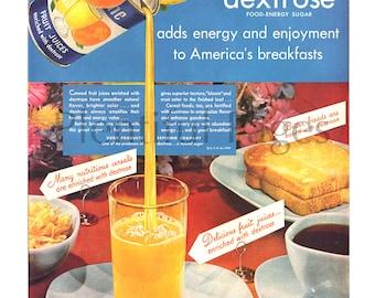 1948 Dextrose Vintage Ad, Advertising Art, 1940's Breakfast, Orange Juice, Buttered Toast, Great for Framing or Collage.