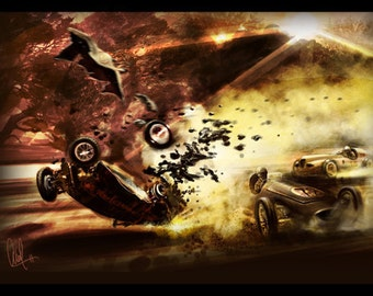 Vintage Automotive Art  Grand Prix Crash 16x24 Metallic Print