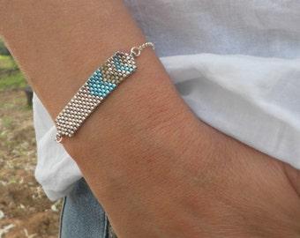 Sterling silver bracelet, Seed bead bracelet, Turquoise bracelet, Miyuki bead bracelet, Gift ideas for women