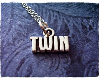 Silver Twin Necklace - Sterling Silver Twin Charm on a Delicate Sterling Silver Cable Chain or Charm Only