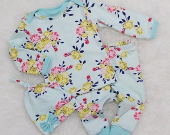 Idlewild floral outfit | Baby girl coming home outfit | Newborn baby girl | Baby girl clothes | Take home outfit | Baby shower gift